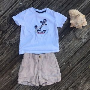 Sz 18-24 months Janie and jack shirt/linen shorts